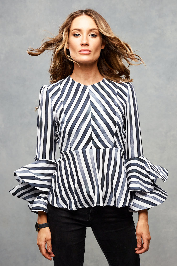 Rose Frill Top Charcoal Stripe