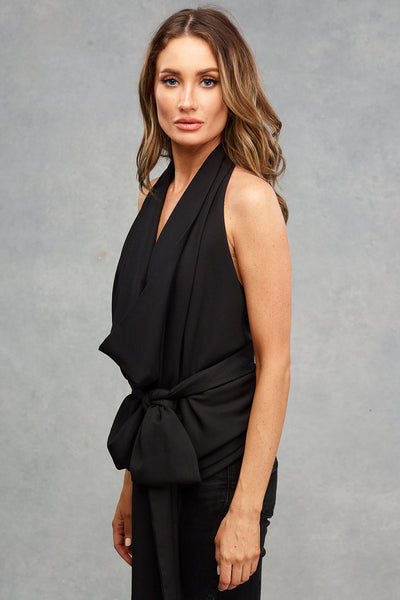 Lucy Drape Black Satin
