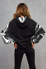 Midnight Black Monochrome Palm Hoodie