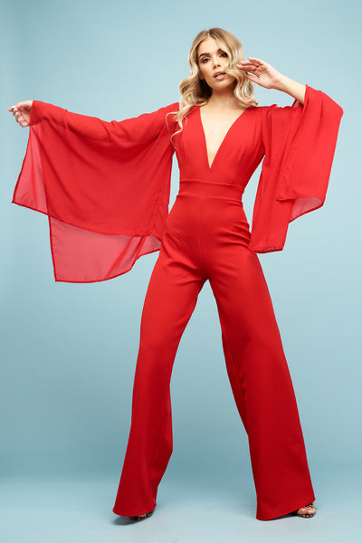 Luna Trouser Suit Ruby Red