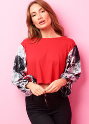 Ruby Red, Rose Romance Cropped Oversized T-shirt