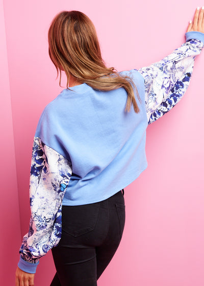 True Blue, Colbolt Porcelain Cropped Sweatshirt