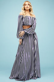 Camilla Top and Summer Skirt in Candy Blue stripe