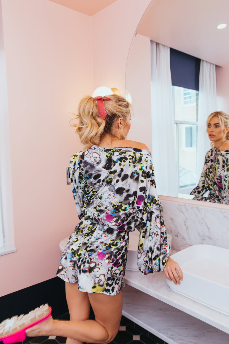 Neon News Sara Slouch Playsuit
