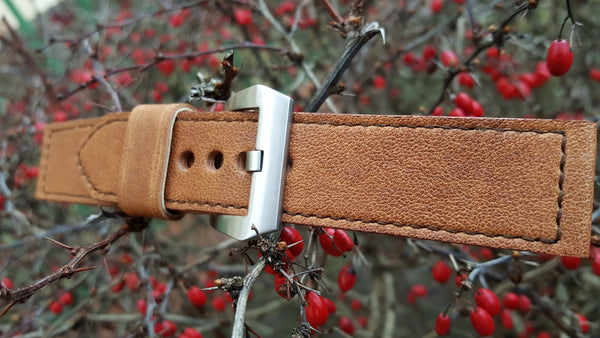 Brown bovine watch strap 22 mm
