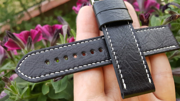 Black bovine watch strap 22 mm