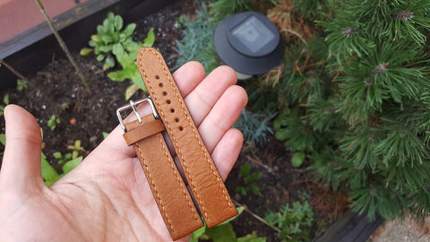Brown bovine watch strap 20 mm