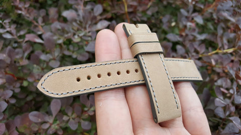 Beige bovine watch strap 18 mm
