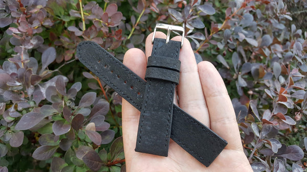 Portuguese cork fabric - Black 20 mm