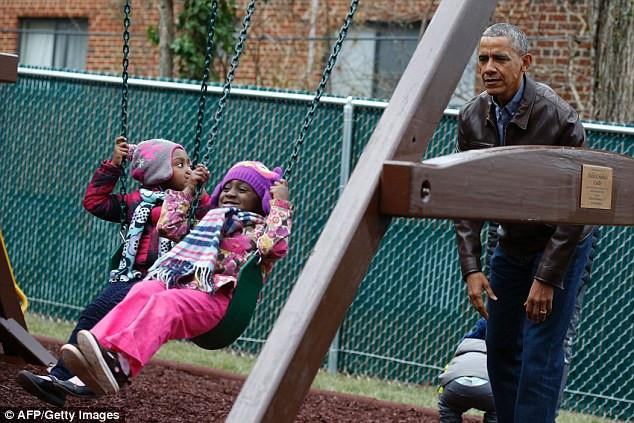 The Obamas Spent MLK Day At The Shelter Where They Donated Malia and Sasha's Swing Set