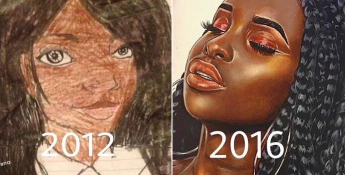 16-Year-Old Self-Taught Artist Compares Her Artwork From Then And Now, The Results Are Amazing