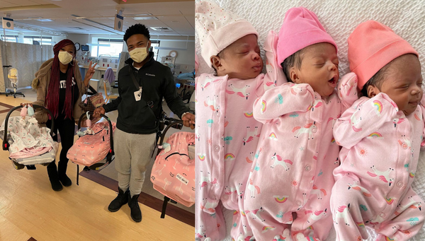 Couple With Rare Double Pregnancy Gives Birth To Adorable, Healthy Triplets
