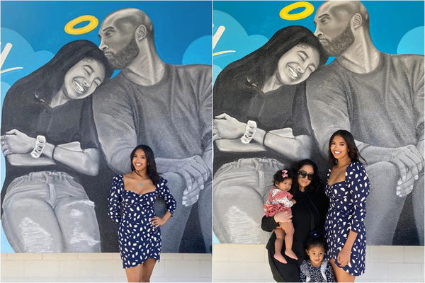 Vanessa and Natalia Bryant Pose In Front Of Mural Dedicated to Kobe and Gianna
