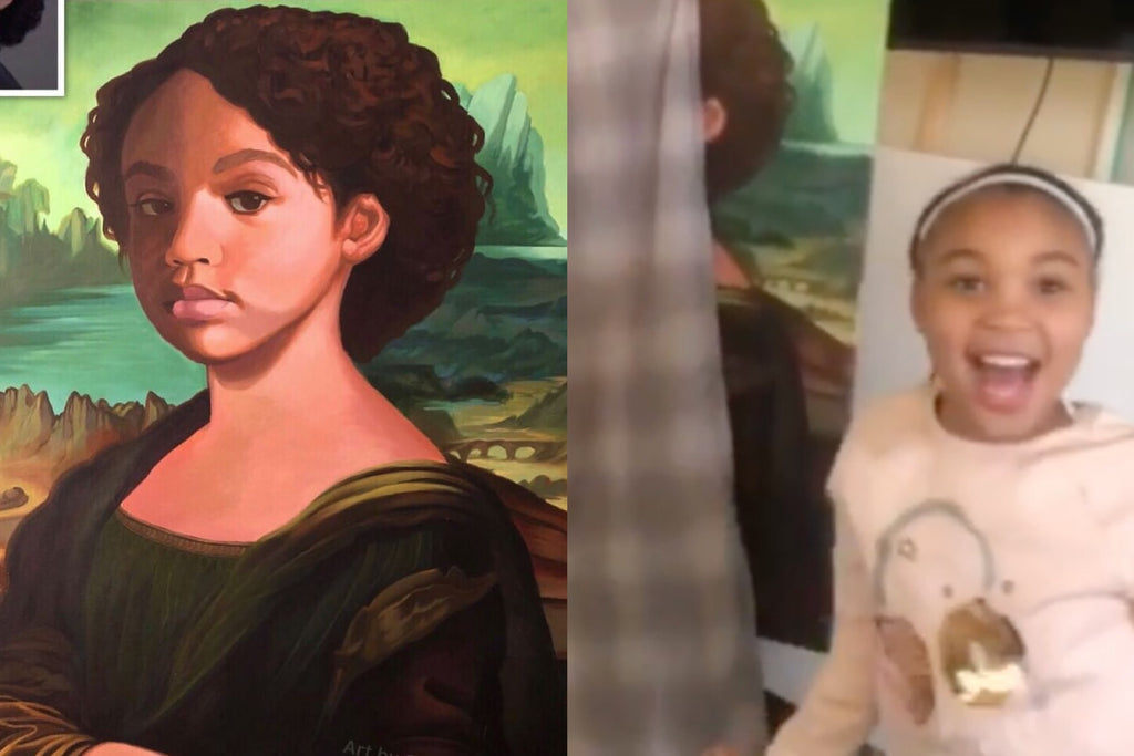 A Dad Painted His Daughter as Mona Lisa and Her Reaction is Priceless