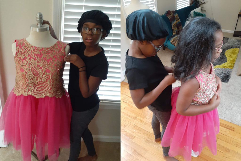 11-Year-Old Designed And Made Dress For Her and Her Sister To Wear To Their Mother's College Graduation
