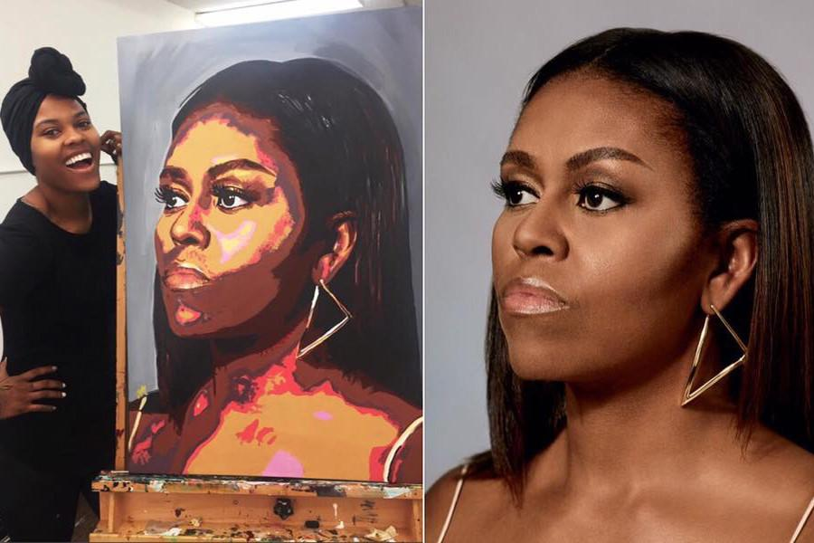 Look! This talented artist turned one of First Lady Michelle Obama's photos into a painted masterpiece.