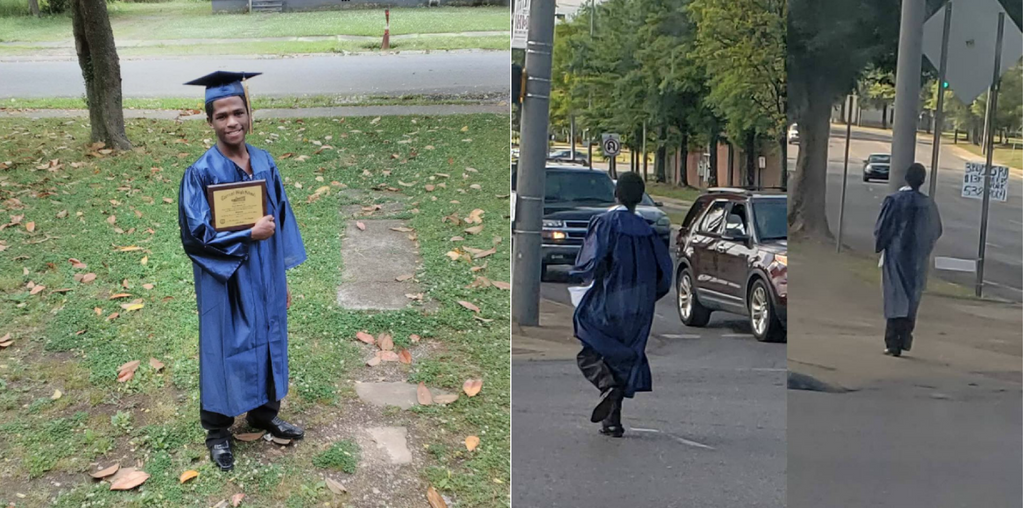 This Photo Of A Student Walking To Bus Stop To Get To His Graduation Is Determination Personified