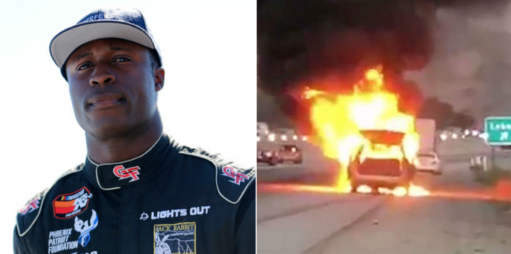 NASCAR Driver Saves Family Of Four From A Vehicle Fire