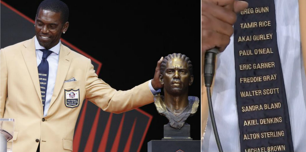 Randy Moss Honors Victims Of Police Brutality With A Powerful Fashion Statement At His Hall Of Fame Ceremony