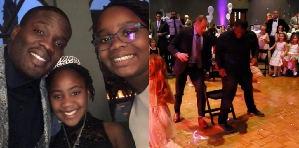 This Dad Will Do Anything for His Girls, Including Making Sure He Wins Musical Chairs at a Daddy-Daughter Dance