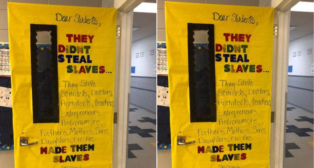 Mississippi Teacher Decorates Classroom Door with Powerful Message from the Ancestors