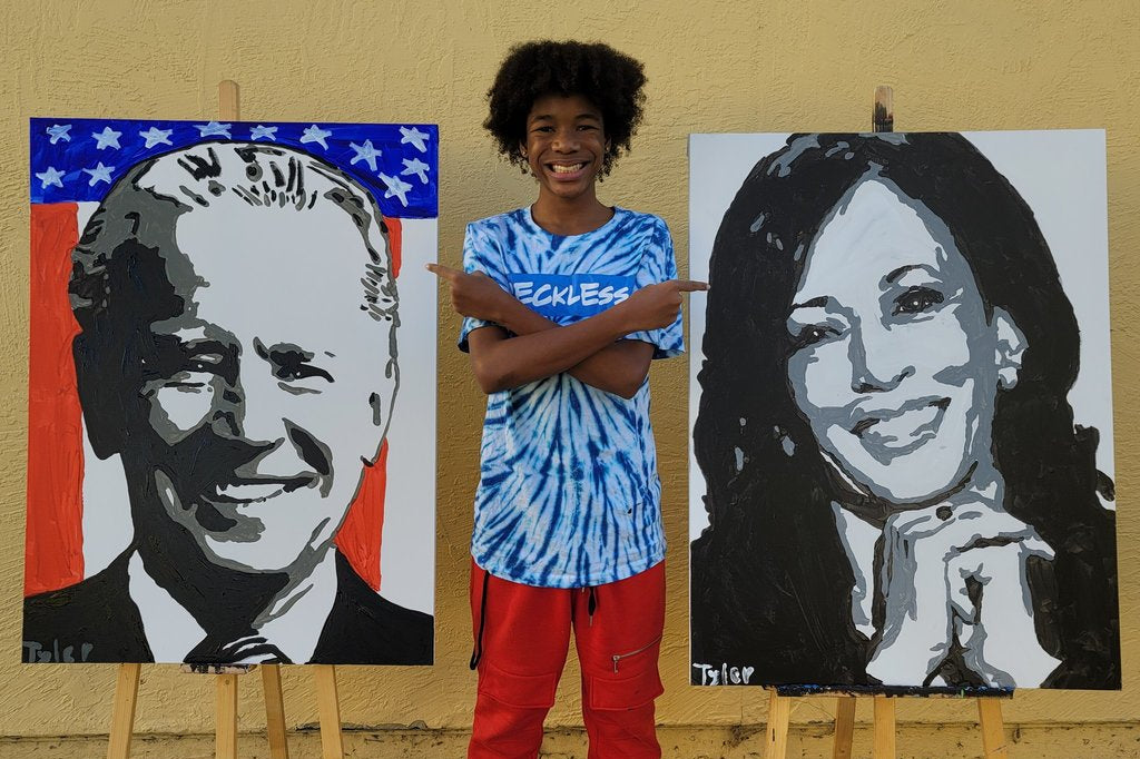 Oakland Teen Receives A Call From Vice President-Elect Kamala Harris After His Painting Of Her Goes Viral