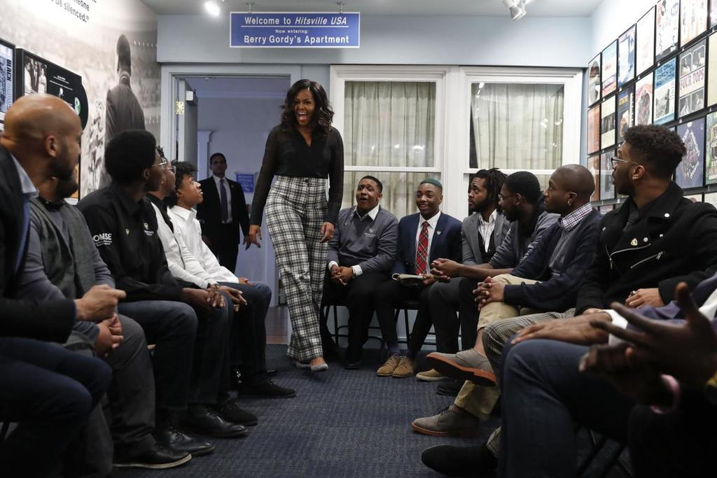 Michelle Obama Surprises Young Men From Wayne State University At The Motown Museum