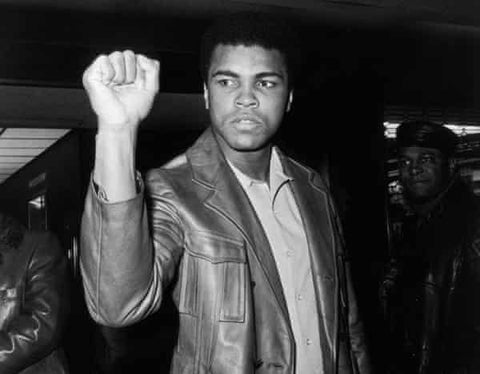 Muhammad Ali with his Fist in the air