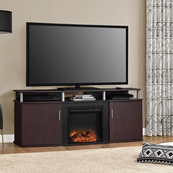 Dark Cherry Wood Tv Stand With Fireplace Infinite Tv Stands