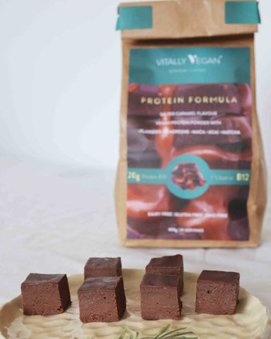 A photo of Vegan Fudge with a brown Vitally Vegan eco refill bag in the background
