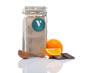 THE STARTER PACK - JAR, SCOOP & 1 BAG - CHOCOLATE & ORANGE VEGAN PROTEIN POWDER