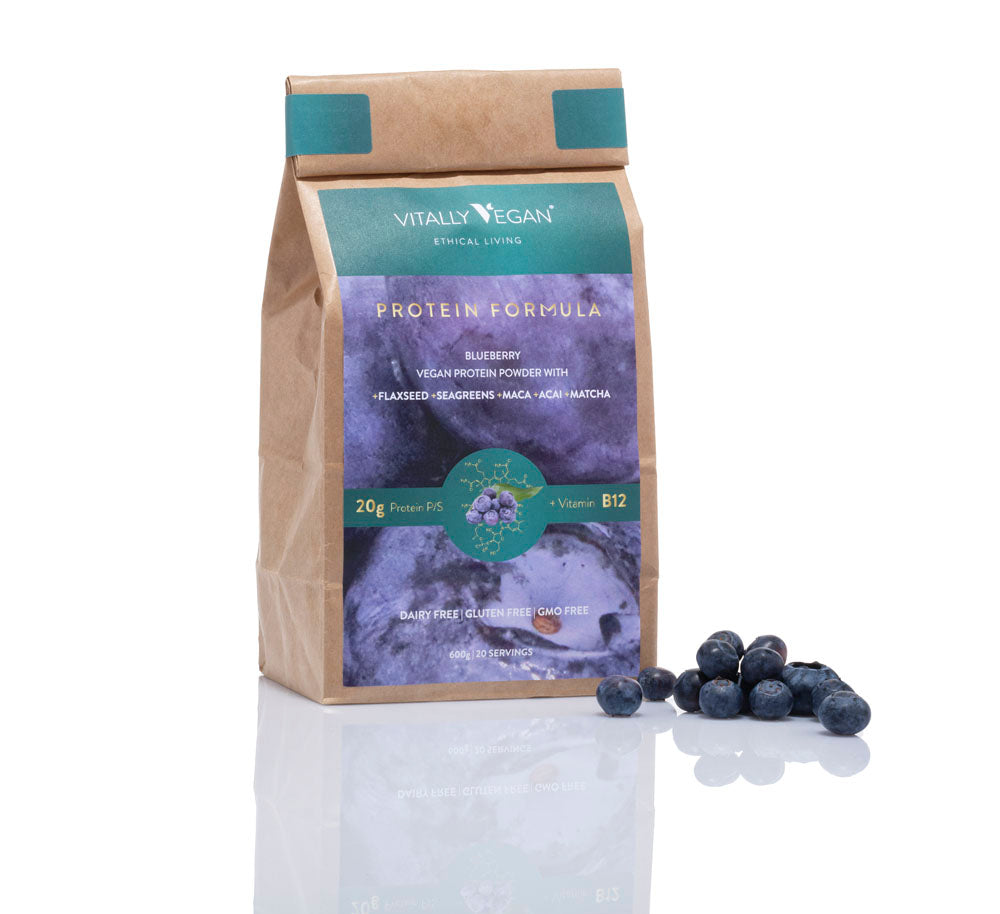 VEGAN PROTEIN POWDER - REFILL BAG - BLUEBERRY - 600g