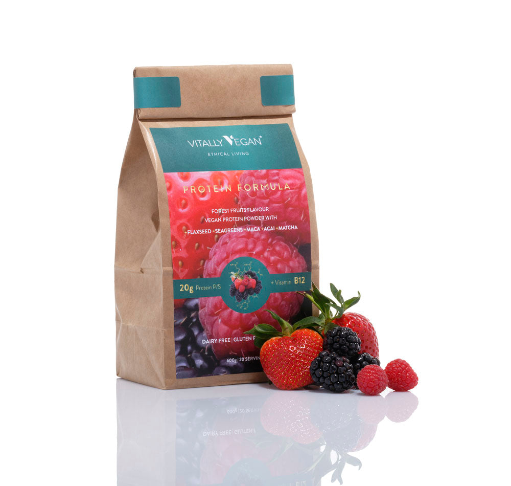 Load image into Gallery viewer, The Protein Starter Pack - JAR, SCOOP & 1 BAG - Forest Fruits Flavour Vegan Protein Powder