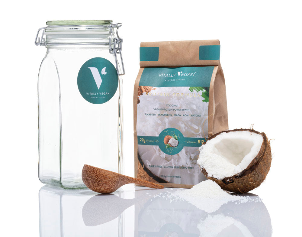 The Protein Starter Pack - JAR, SCOOP & 1 BAG - Coconut Flavour Vegan Protein Powder