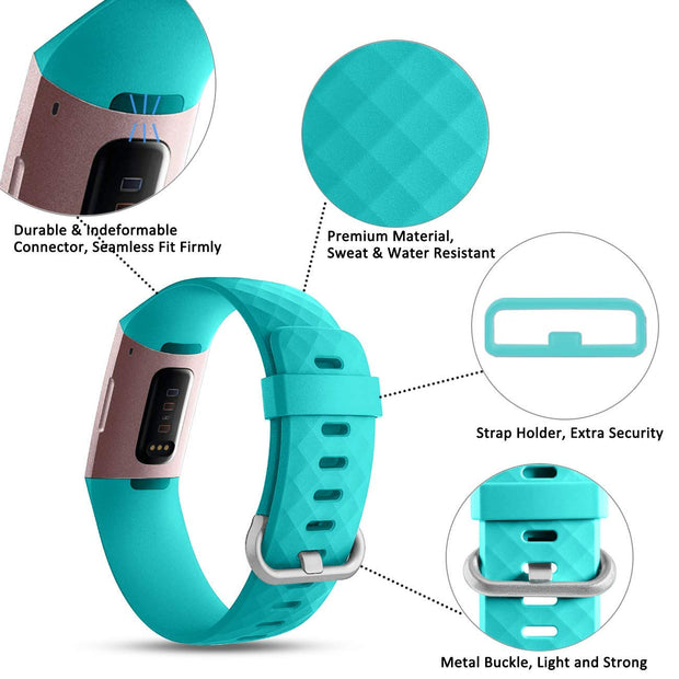 3 Pack - Silicone Replacement Band for Fitbit Charge 3