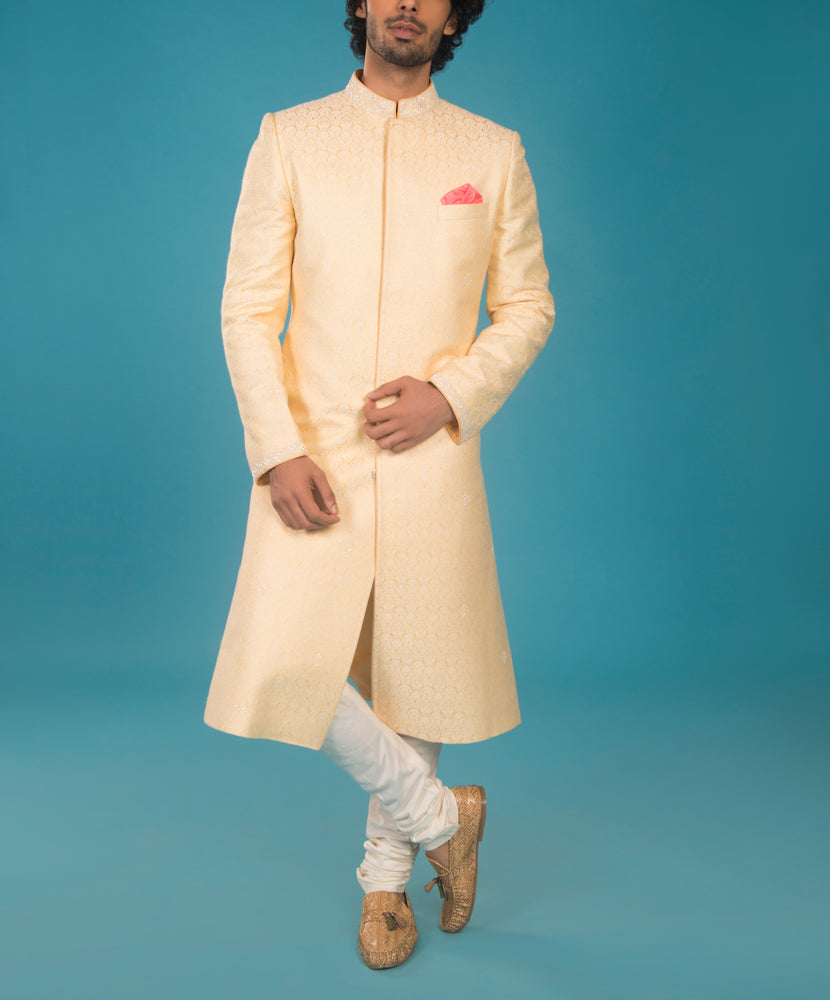 Yellow Brocade Sherwani