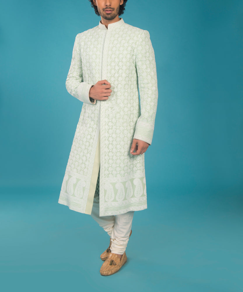 Mint and Off-White Lucknowi Sherwani
