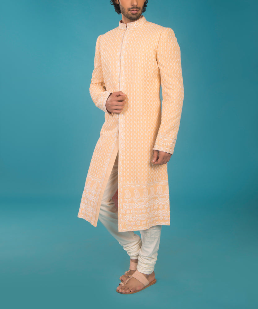 Peach and Off-White Lucknowi Sherwani