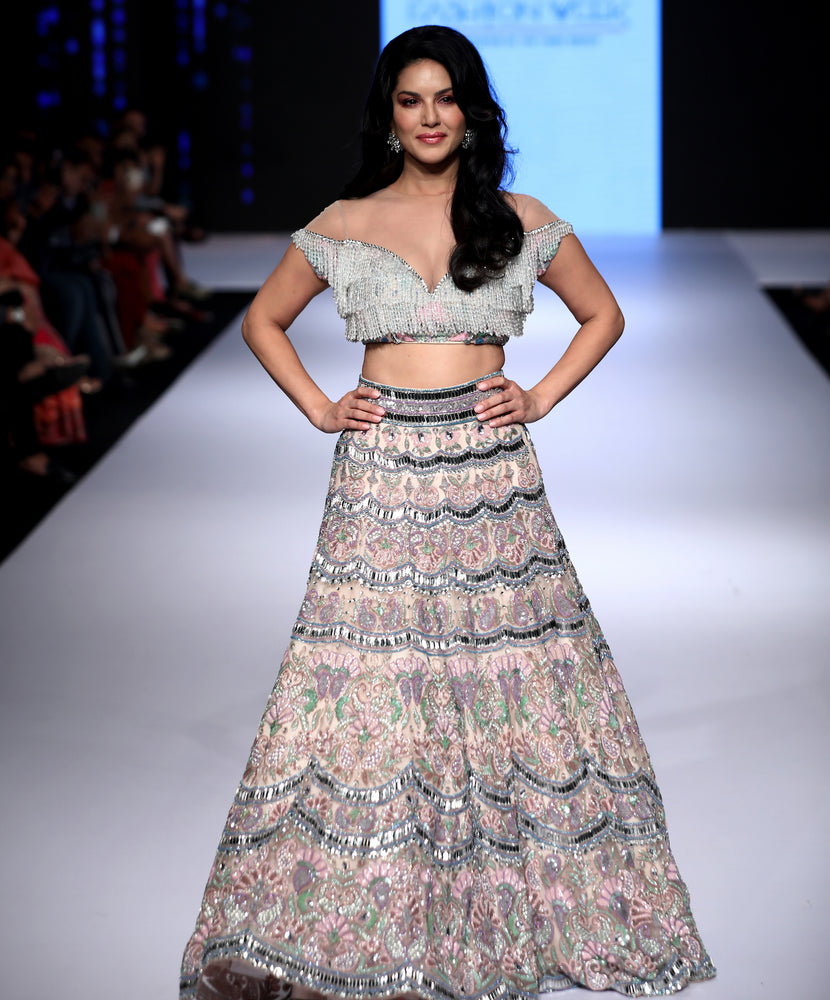 Off-Shoulder Embroidered Lehenga Set