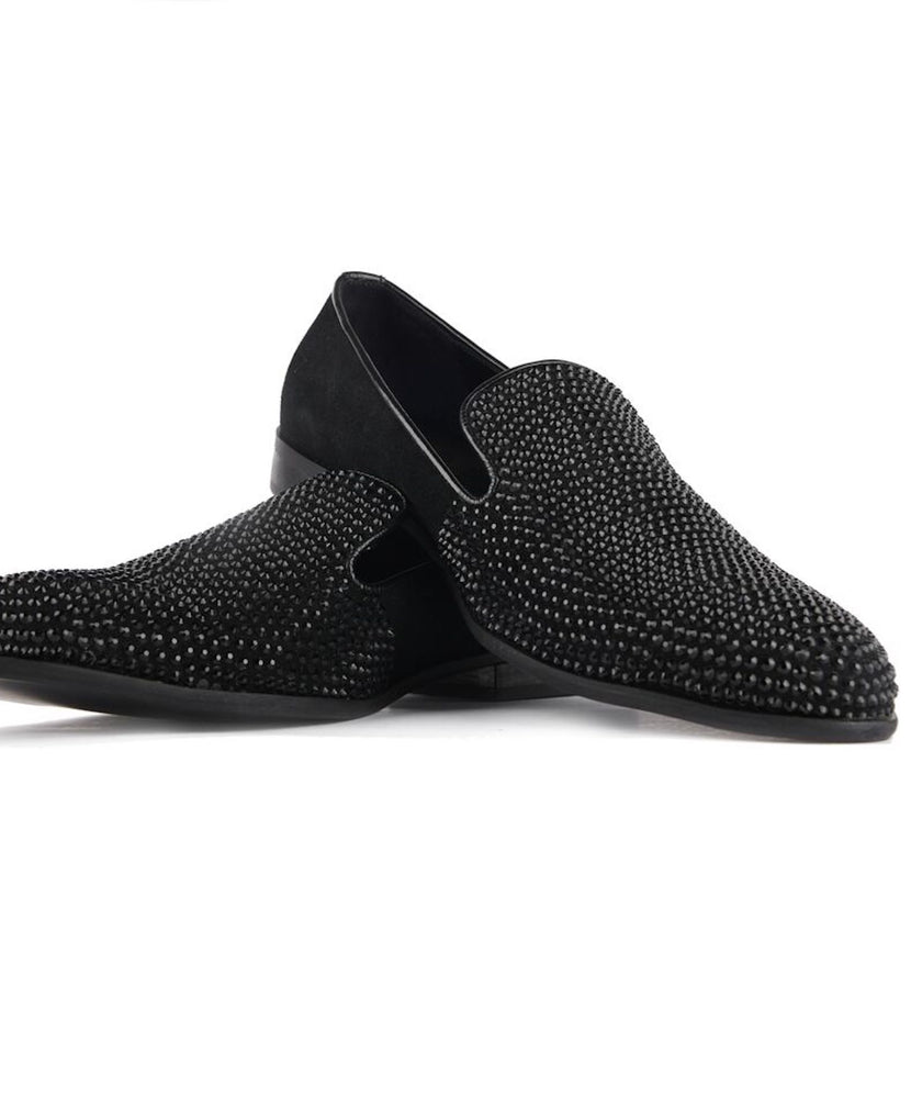 Black Crystal Loafers