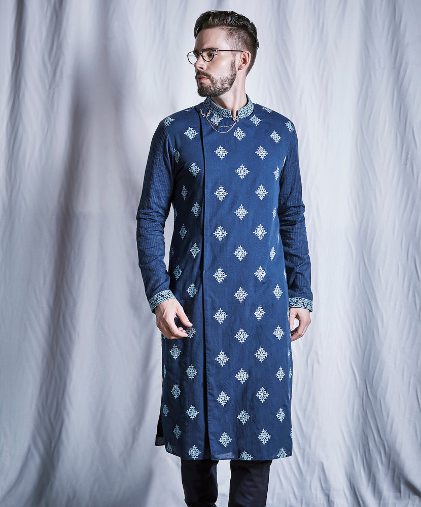 Sapphire Diamond Embroidered Kurta Set