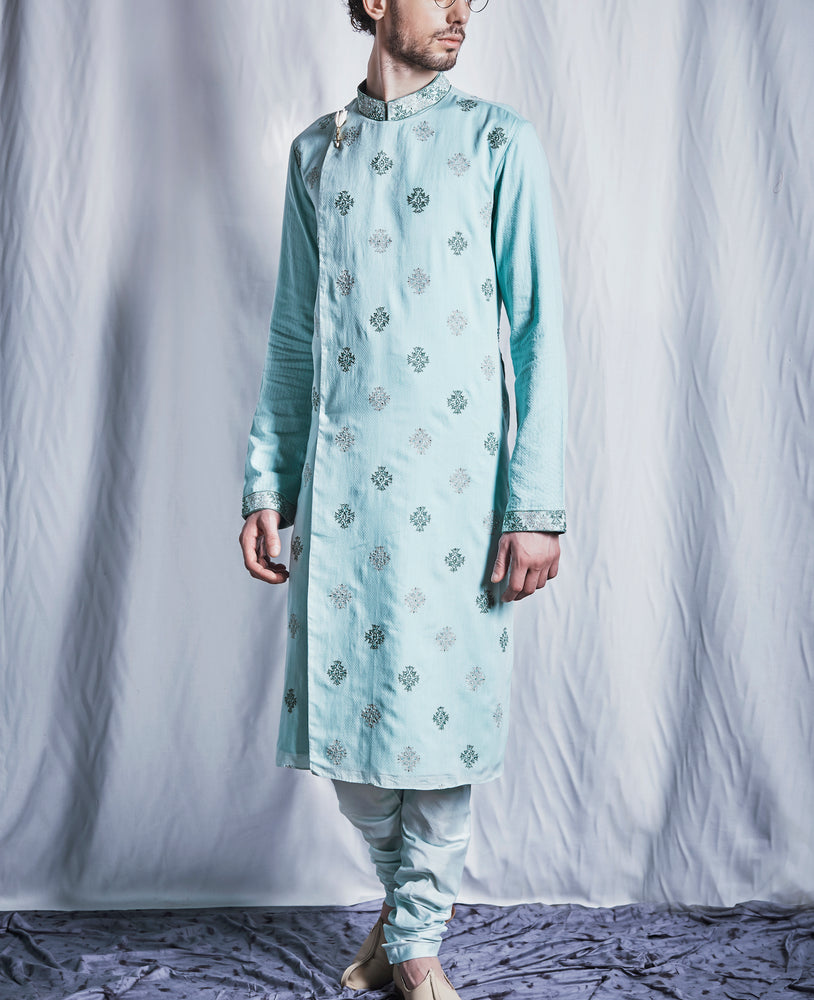 Aquamarine and Jade Green Kurta Set
