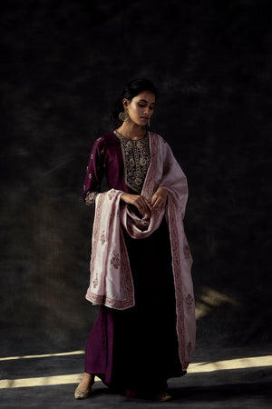 Short Kurta With High Low Pants And Block Printed Dupatta