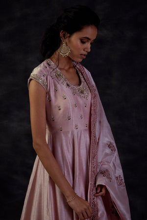 Lilac Anarkali With Block Printed Embroidered Dupatta