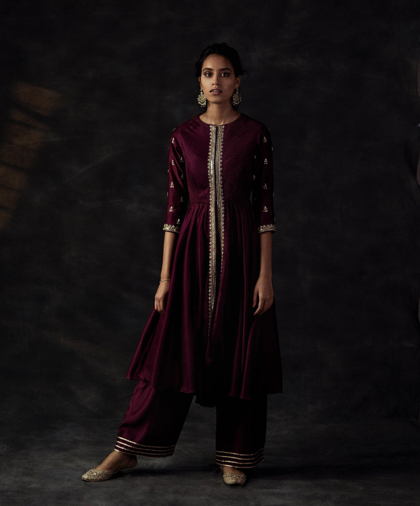Wine Tunic With Semi Flared Pants