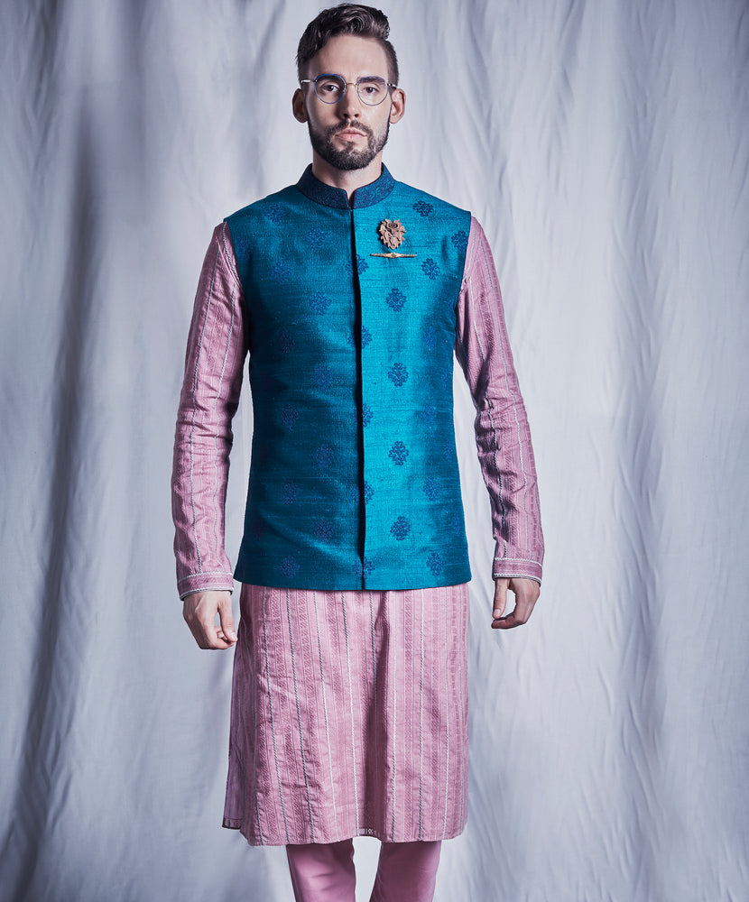Mauve Striped Kurta Set