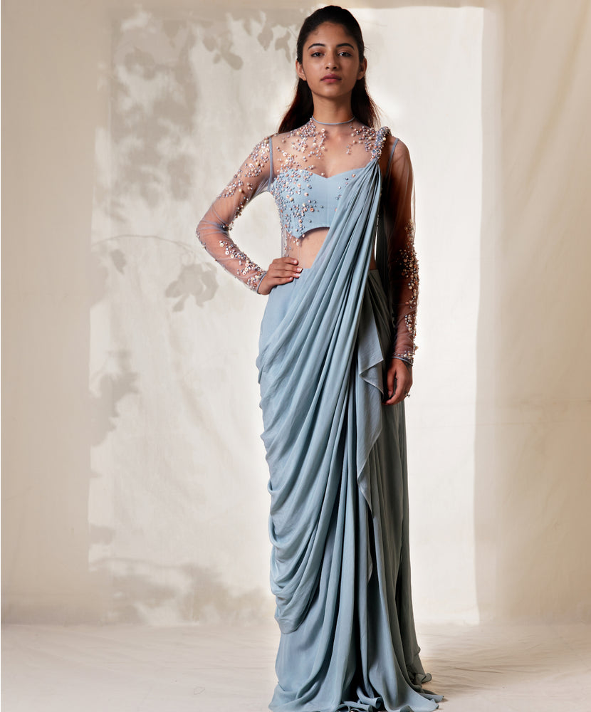 Frost Blue Embellished Ruffled Saree Gown