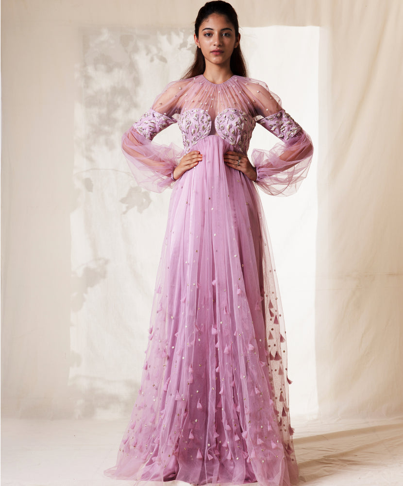 Lavender Flore Blot Embroidered Gown