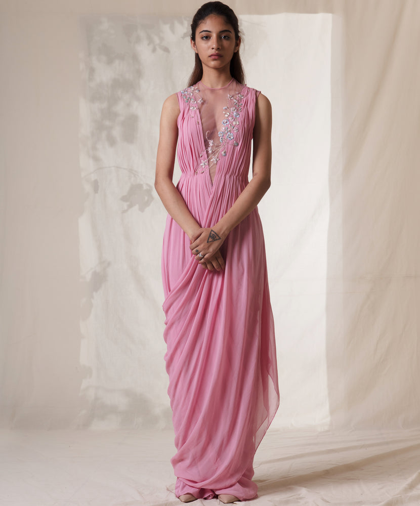 Salmon Pink Cross Grecian Embroidered Saree Gown