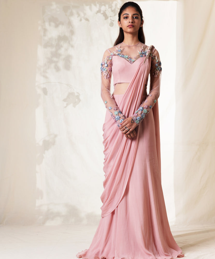 Pearl Pink Floral Embroidered Saree Gown
